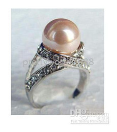 Wholesale South Sea Pearls Rings - AAA +genuine noblest 10mm pink sea south pearl ring size 7 8 9
