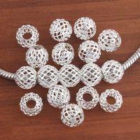 Wholesale Cooler Big - wholesale 100Pcs beautiful Bulk Charm Silver plated Tennis Net European Beads Big Hole Fit European Bracelet Cool