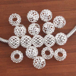 Wholesale Tennis Net Wholesale - wholesale 100Pcs beautiful Bulk Charm Silver plated Tennis Net European Beads Big Hole Fit European Bracelet Cool
