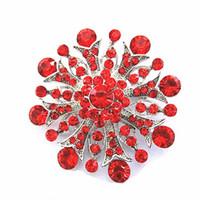 ingrosso inviti di nozze di spilla-Spilla Invito a nozze con strass a forma di fiore in cristallo diamantato vintage 2 pollici