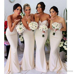 Discount navy blue jersey prom dresses - 2016 sequins jersey bridesmaid dresses with sweetheart neck slim sheath long floor length cheap party gowns prom evening dresses