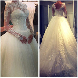 Wholesale High Collar Ball Gowns - 2015 Sexy Sheer Lace Long Sleeves Ball Gown Wedding Dresses Tulle Applique Crystals High Neck Empire Waist Vintage Bridal Gowns BO3930