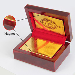 Wholesale Certificate Card - One set 24K GOLD POKER PLAYING CARDS BRIDGE SIZE REGULAR INDEX US $100 WITH CERTIFICATE
