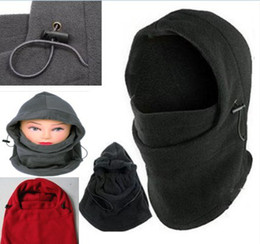 Wholesale Black Scarf Hood - 1pc New Fashion Winter Warmer Motorcycle Cycling Mask Thermal FLEECE 6 in 1 BALACLAVA HOOD POLICE SWAT SKI MASK Skiing Cap Scarf