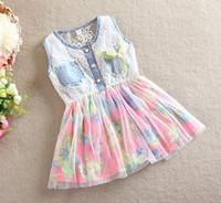 Wholesale Denim Flowers Girls Kids - Kids Clothes Princess Girls Lace Flower Denim Dress 2017 Children Clothing Child Flowers Vest Yarn Dresses Floral Gauze Dressy D2728