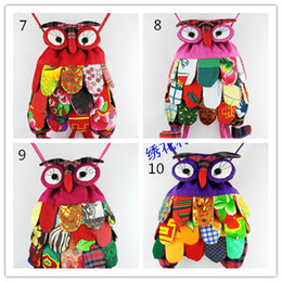 Wholesale Patchwork Owl Bags - New Arrive children bag backpack owl fashion baby kids school bags Chinese national characteristics