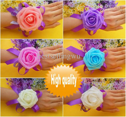 Wholesale Wholesale Wrist Wedding Corsages - Romatic Wedding Supplies Bridal bridesmaid flower wrist corsage wrist flower silk foam headdress flower free shipping