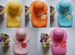 Wholesale Baby Girl Cute Hats - New Arrive Baby Girls Flower Straw Beach Hat+Bag kids sun hat beach bags children Summer cute candy color topee
