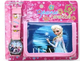 Wholesale Purse Favors - Wholesale 12Sets princess Elsa Anna Wristwatch watch and Purses Party Favors