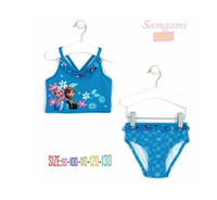 Wholesale Swimsuit Pcs - 2014 Beach Supplies Kids Swimwear SwimSuit Swim Wear 2 pc set Swim Bodysuit Anna & Elsa blue Swim