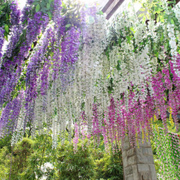 Wholesale Decoration For Hotel Wall - 2017 Hot Sale Silk Flower Artificial Flower Wisteria Vine Rattan For Valentine's Day Home Garden Hotel Wedding Decoration