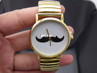 Wholesale Mustache Watches - 1pcs Full Steel Watch Gold Stainless Steel Case Mustache Watches Beard Quartz Casual watches Unisex Bracelet watch