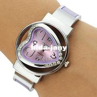 relojes de cuarzo en forma de corazon al por mayor-2014 nuevo brazalete de cuarzo reloj de pulsera de moda rhinestone en forma de corazón reloj de pulsera casual relojes de las señoras del reloj de las mujeres