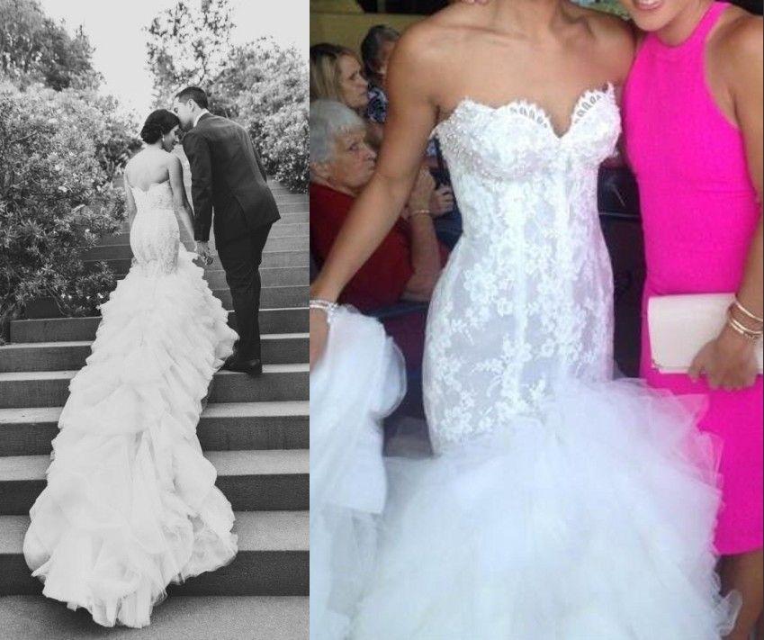 2015 Steven Khalil White Lace Backless Mermaid Wedding Dress Beach ...