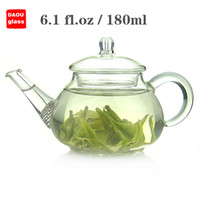 Glass ECO Friendly super clear glass small mini 6.1 fl.oz 180ml Heat-Resisting Clear Pyrex Glass Teapot Coffee Tea Pot Set Juice Kettle with handle strainer and Lid
