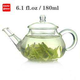 Wholesale Glass Teapot Strainer - small mini 6.1 fl.oz 180ml Heat-Resisting Clear Pyrex Glass Teapot Coffee Tea Pot Set Juice Kettle with handle strainer and Lid