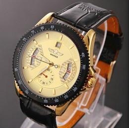 Babalar Günü Ünlü Marka Kazanan Moda Deri Kayış Erkekler otomatik Mekanik Kendini Rüzgar Altın Erkekler Için Takvim Tarihle Sa ... cheap famous brand watches for men nereden ünlü marka erkekler için saatler tedarikçiler