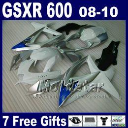 Wholesale Silver Blue Gsxr Fairings - Low price Fairing kit for SUZUKI 08 09 10 GSX-R 600 750 K8 2008 2009 2010 GSXR 750 GSXR 600 white blue silver ABS fairings set BT61+7 gifts