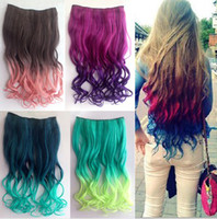 "Wholesale Gradient Hair Extensions - FREE shipping 1 piece for full head gradient Ombre colorfiul 24"" clips in hair extensions"