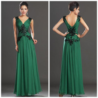Wholesale Emerald Green Formal Gowns - New Floor Length Prom Gowns V Neck Appliques Spaghetti Strap Long Emerald Green Evening Dresses A-line Formal Gowns MC024