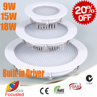 Wholesale Led Down Lights Sales Best - Best Sale-20% OFF-Built in Driver 9W 15W 18W Round LED Panel Lights SMD2835 Downlights Fixture Cabinet Ceiling Down Lights 110-240V CE&ROHS
