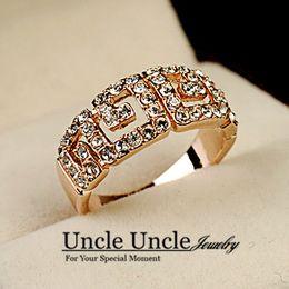 Wholesale Crystal Rome - Brand Design Rose Gold Color Austrian Rhinestone Rome Design Single Row Lady Finger Ring