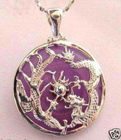 Wholesale Dragon Phoenix Jade Pendant - Purple jade silver dragon phoenix girl pendant necklace