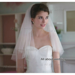 Wholesale Net Garment - 2016 White Ivory Bridal Veil with Comb Free Shipping High Quality Soft Tulle Pure Cut Edge Shoulder Length Two Layer