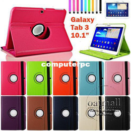 Wholesale Ipad Leather Swivel Case - 360 Degree Swivel Rotating Smart Case For Samsung Galaxy Tab 3 10.1 Inch P5200 P5210 P5220 Stand Cover PU Leather Tablet cases