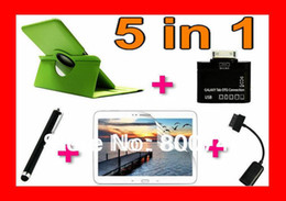 Wholesale Magnetic Cards Reader - Leather Case Smart Magnetic Book Cover Stand For Samsung Galaxy Note 10.1 N8000 N8010+OTG Cable+Card Reader+1Stylus+1Protector