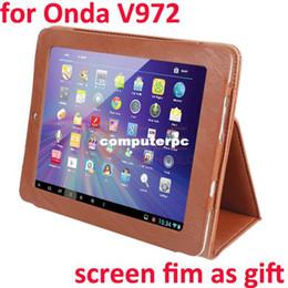 $enCountryForm.capitalKeyWord Canada - High Quality 9.7inch Onda Leather Case Onda V972 Quad Core Tablet PC Tablet Cover Brown Screen Film As Gift