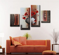 Wholesale Textured Wall Canvas - free shipping !!! Thick Textured 100% Handpainted Flower Oil Painting On Canvas,4 piece Wall Art ,Top Home Decoration , HH4001