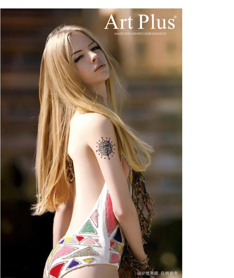 New Korean Sexy Body Art Crystal Compass Temporary Tattoo Sticker Large Fake Tattoos Long Lasting Temporary Tattoo Ink From Fhtdttfc 16 6