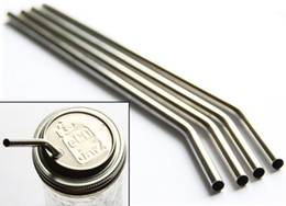 Wholesale Drinking Straws For Party - 300pcs lot Stainless Steel Straw Eco-friendly drinking straws practical beer tool bend drinking straw for party gift