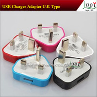 Wholesale S4 Gb - UK Adapter UK GB Plug USB Wall Travel Charger for iphone 4 5 5S for Samsung Galaxy S4 Note 2 3 AC Power Adapter