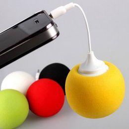 Wholesale Balloon Speakers - 3.5mm Portable Music Sponge Balloon Mini Ball Speaker Loudspeaker For iphone5 5C iPod MP3 MP4 PC