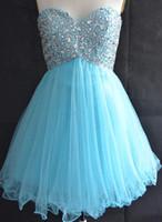 mavi sekizinci sınıf balo elbiseleri toptan satış-Sevgiliye Açık Mavi Mezuniyet Elbiseleri Koleji Lisesi 8th Sınıf Tül Boncuk Kısa Bir Çizgi Homecoming Parti Balo elbise