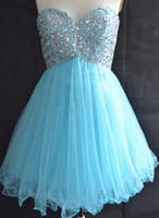 azul 8vo grado vestidos de fiesta al por mayor-Vestidos de graduación de color azul claro cariño para la universidad High School 8th Grade Tulle Beads Short A Line Homecoming Party Prom Gown