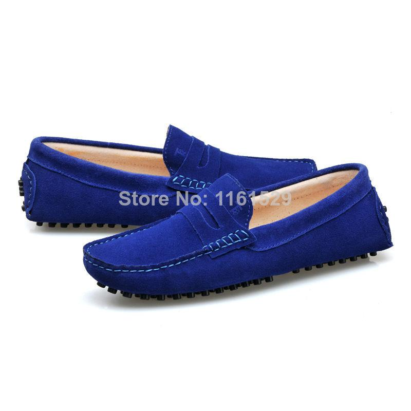 Moccasin Slip On Shoes Man Leather Blue Suede
