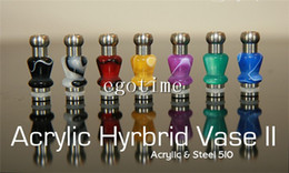 Wholesale Dct Cartomizers - Hybrid Vase II B Acrylic & Steel 510 Vapor stainless steel with Acrylic bead Drip Tips EGO Mouthpieces 510 Vivi nova Dct cartomizers