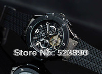 Wholesale Jaragar Black Dial - Hongkong Post free shipping jaragar Automatic Mechanical Wristwatch Mens Watche black dial with Tourbillon rubber band