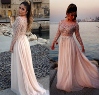 Wholesale Elie Saab Blue Chiffon Dress - 2017 Long Prom Dresses Elie Saab Sparking Crystal Beading Sheer Modest With Long Sleeve Evening Gowns Prom Dresses Party dress