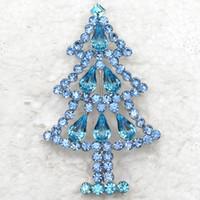 Wholesale Crystal Christmas Tree Brooch - Wholesale Fashion Brooch Rhinestone Christmas tree Pin brooches Christmas Gift C101554