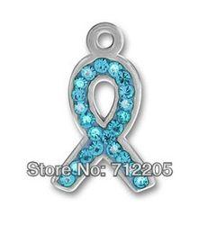 Wholesale Pewter Ribbon - Free shipping 10pcs a lot silver pewter Light blue Austrian crystal ribbon charms (H105952)