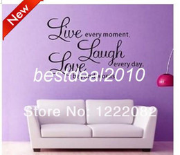 Wholesale Live Moment Laugh - live every moment laugh and love quote wall decal zooyoo8023 decorative adesivo de parede removable vinyl wall sticker