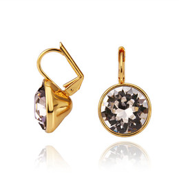 Wholesale Crystal Elements Jewelry - Top quality 18K gold plated Swarovski elements crystal earrings fashion jewelry free shipping wedding gifts for women