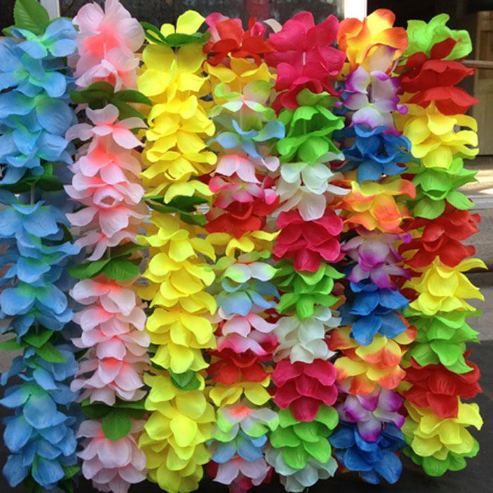 50pcs hawaiian leis jumbo silk flower luau party favor artificial hawaiian leis jumbo silk flower luau party favor artificial garland wreath cheerleading necklace decoration mightylinksfo Image collections