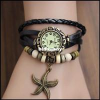 Wholesale Wholesale Arm Candy Bracelets - 2014 Romantic 7 Color Vintage Big Sea Star Arm Candy Women Charm Cow Leather Bracelet Watch