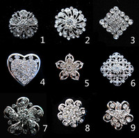 Wholesale Cheap Small Brooches - Silver Tone Small Flower Cheap Brooch Clear Rhinestone Crystal Diamante Party Prom Pins