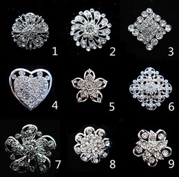 Wholesale Cheap Wholesale Rhinestone Brooches - Silver Tone Small Flower Cheap Brooch Clear Rhinestone Crystal Diamante Party Prom Pins
